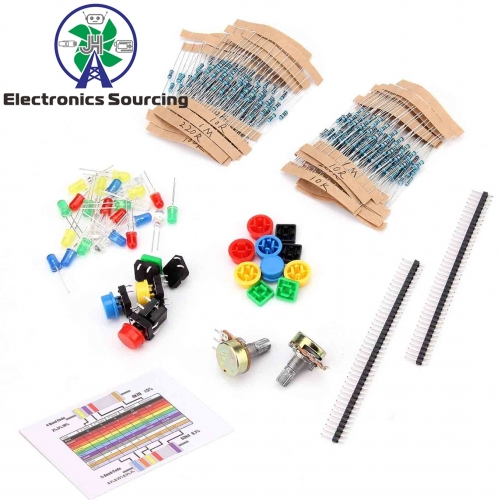 E32-Electronics component pack with resistors, LEDs, Switch, Potentiometer