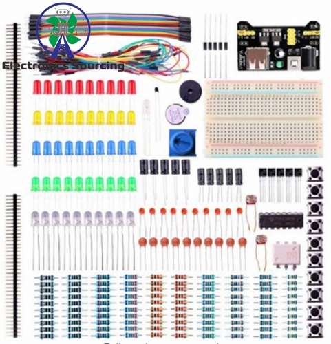E24 Electronic Fun Kit Bundle with Breadboard Cable Resistor, Capacitor, LED, Potentiometer(235 Items)