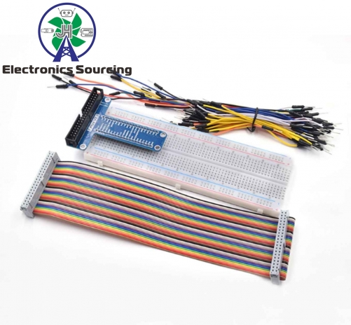 E48-T Type GPIO Extension Board DIY Breadboard /Jumper Wire/Resistors/ Rainbow 40 Pin Flat Ribbon Cable for Raspberry Pi 2 3 Model B+ stor kit