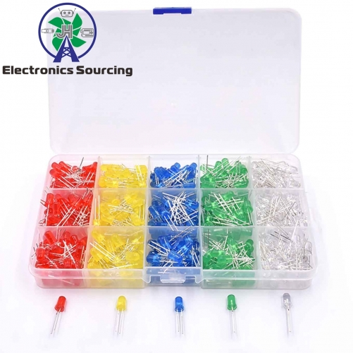 5MM LED matching plastic boxes(red/yellow/blue/green/ white, every color each 100pcs)