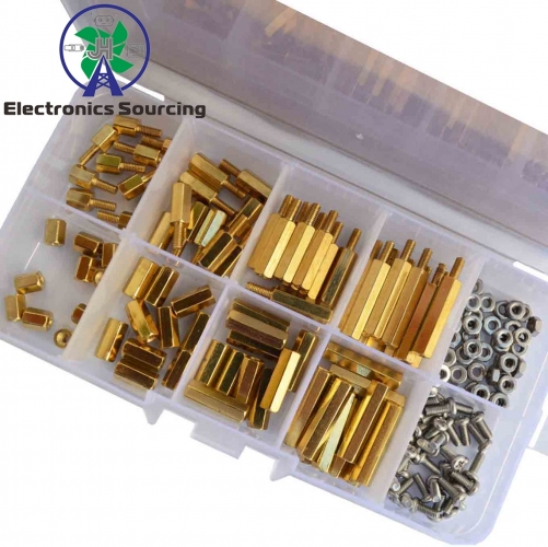 E50-120Pcs M2.5 Male Female Brass Standoff Spacer PCB Board Hex Screws Nut Assortment