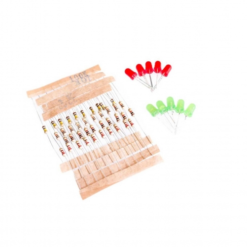 1K 10K 100K 220 Ohm 1/4W Metal Film Resistor and Led KIT
